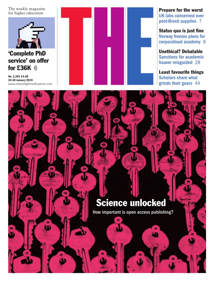 The front cover of Times Higher Education.
